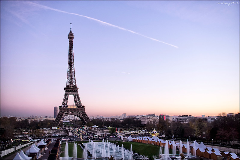 Eiffel tower view from the Champs de Mars